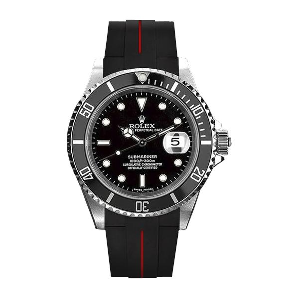 ラバーB【RUBBERB】ROLEXサブマリーナ専用ラバーベルト 色:ブラック×レッド【ROLEX純正バックルを使用】※時計、バックルは付属しません