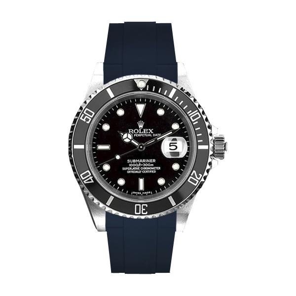ラバーB【RUBBERB】ROLEX サブマリーナ専用ラバーベルト 色:ネイビー【ROLEX純正バックルを使用】※時計、バックルは付属しません