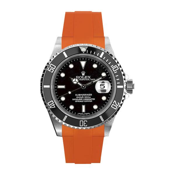 ギフト 高級時計をカジュアルにROLEXサブマリーナ専用のラバーベルト 評判 ラバーB RUBBERB ROLEXサブマリーナ専用ラバーベルト ※時計 色:オレンジ バックルは付属しません ROLEX純正バックルを使用