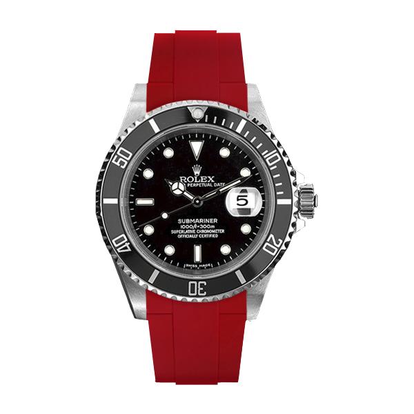 ラバーB【RUBBERB】ROLEXサブマリーナ専用ラバーベルト 色:レッド【尾錠付き】※時計は付属しません