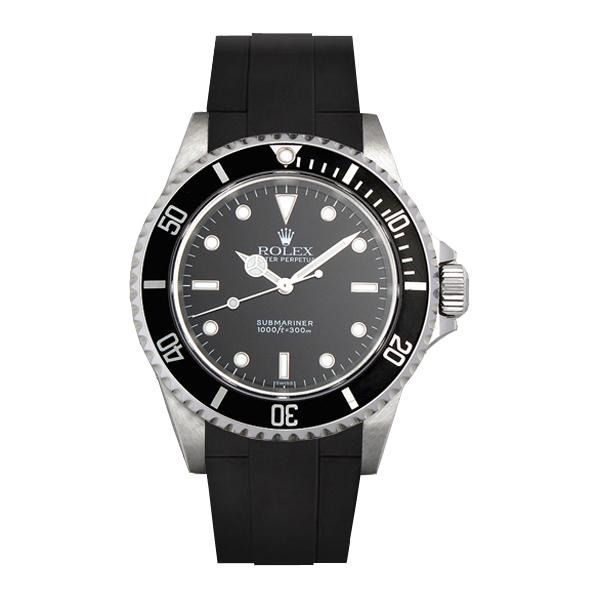 ラバーB【RUBBERB】ロレックス【ROLEX】サブマリーナー(Ref.14060、14060M)専用ラバーベルト 色:ブラック【尾錠付き】※時計は付属しません