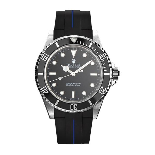 ラバーB【RUBBERB】ROLEXサブマリーナ(ref:14060)専用ラバーベルト 色:ブラック×ブルー【尾錠付き】※時計は付属しません