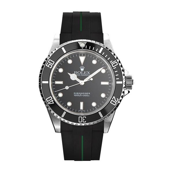 ラバーB【RUBBERB】ROLEXサブマリーナ(Ref.14060)専用ラバーベルト 色:ブラック×グリーン【尾錠付き】※時計は付属しません