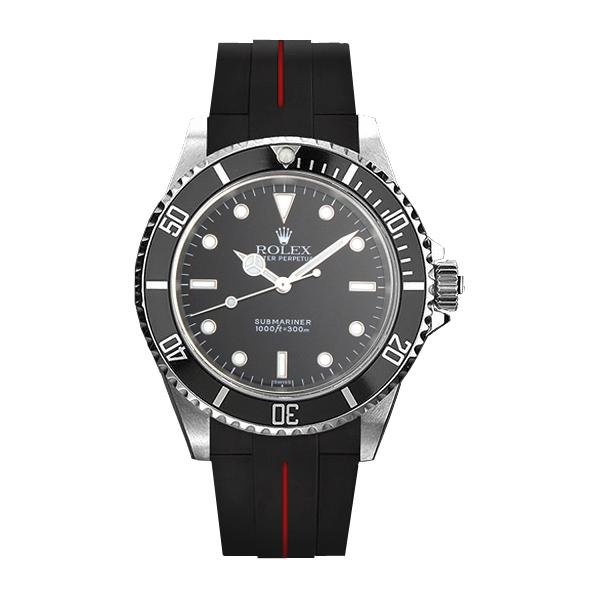 ラバーB【RUBBERB】ROLEXサブマリーナ(Ref.14060)専用ラバーベルト 色:ブラック×レッド【尾錠付き】※時計は付属しません