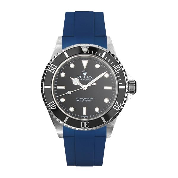 ラバーB【RUBBERB】ROLEX サブマリーナ(Ref.14060)専用ラバーベルト 色:ブルー【尾錠付き】※時計は付属しません