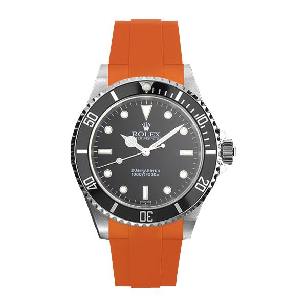 ラバーB【RUBBERB】ROLEXサブマリーナ(Ref.14060)専用ラバーベルト 色:オレンジ【ROLEX純正バックルを使用】※時計、バックルは付属しません