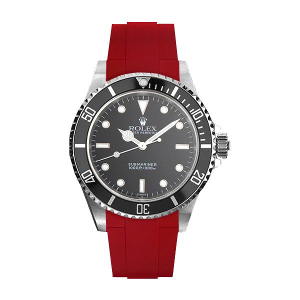 ラバーB【RUBBERB】ROLEXサブマリーナ(Ref.14060)専用ラバーベルト 色:レッド【尾錠付き】※時計は付属しません