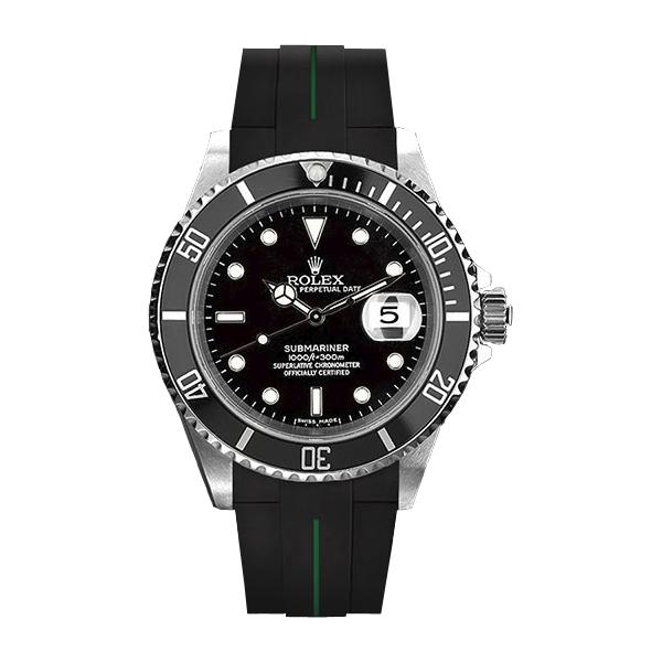 ラバーB【RUBBERB】ROLEXサブマリーナ/サブマリーナセラミック専用ラバーベルト 色:ブラック×グリーン【尾錠付き】※時計は付属しません