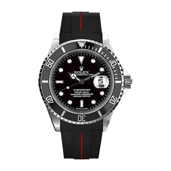 ラバーB【RUBBERB】ROLEX サブマリーナ/サブマリーナセラミック専用ラバーベルト 色:ブラック×レッド【尾錠付き】※時計は付属しません