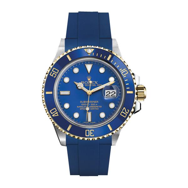 ラバーB【RUBBERB】ROLEXサブマリーナ/サブマリーナセラミック専用ラバーベルト 色:ブルー【尾錠付き】※時計は付属しません