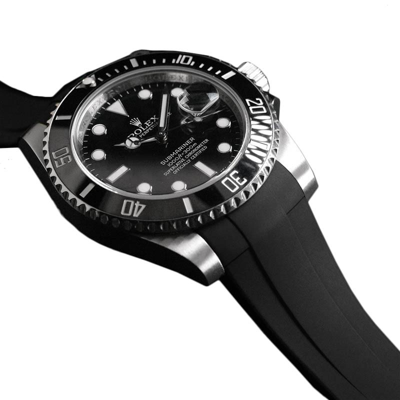 卓抜 高級時計をカジュアルにROLEXサブマリーナ専用のラバーベルト ◆在庫限り◆ RUBBERB ロレックス サブマリーナー41mmモデル専用ラバーベルト ※時計 バックルは付属しません ブラック ROLEXバックルを使用