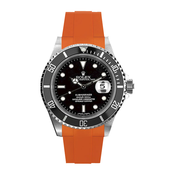 ラバーB【RUBBERB】ROLEXサブマリーナ/サブマリーナセラミック専用ラバーベルト 色:オレンジ【尾錠付き】※時計は付属しません