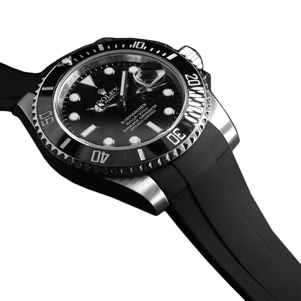 高級時計をカジュアルにROLEXサブマリーナ専用のラバーベルト ラバーB RUBBERB ROLEXサブマリーナセラミック専用ラバーベルト ※時計 バックルは付属しません 色:ブラック 交換無料 新着 ROLEX純正バックルを使用