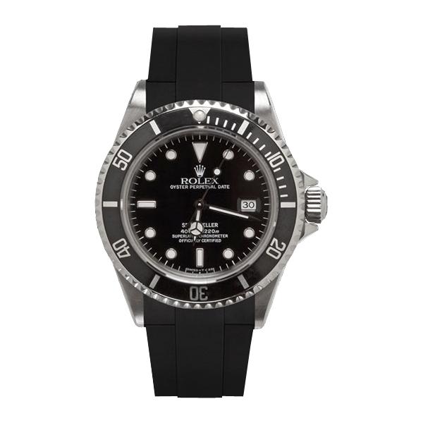 ラバーB【RUBBERB】ロレックス【ROLEX】シードゥエラー専用ラバーベルト VELCRO(マジックテープ)【ブラック】※時計は付属しません