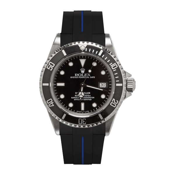 ラバーB【RUBBERB】ROLEXシードゥエラー専用ラバーベルト 色:ブラック×ブルー【ROLEX純正バックルを使用】※時計、バックルは付属しません