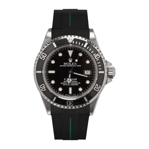 腕元をカジュアルに魅せるシードゥエラー専用ラバーベルト ラバーB RUBBERB 輸入 お気に入り ROLEXシードゥエラー専用ラバーベルト 色:ブラック×グリーン ROLEX純正バックルを使用 ※時計 バックルは付属しません