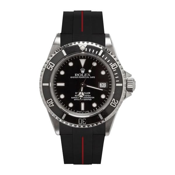 ラバーB【RUBBERB】ROLEX シードゥエラー専用ラバーベルト 色:ブラック×レッド【ROLEX純正バックルを使用】※時計、バックルは付属しません