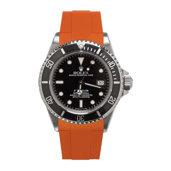 ラバーB【RUBBERB】ROLEXシードゥエラー専用ラバーベルト 色:オレンジ【ROLEX純正バックルを使用】※時計、バックルは付属しません