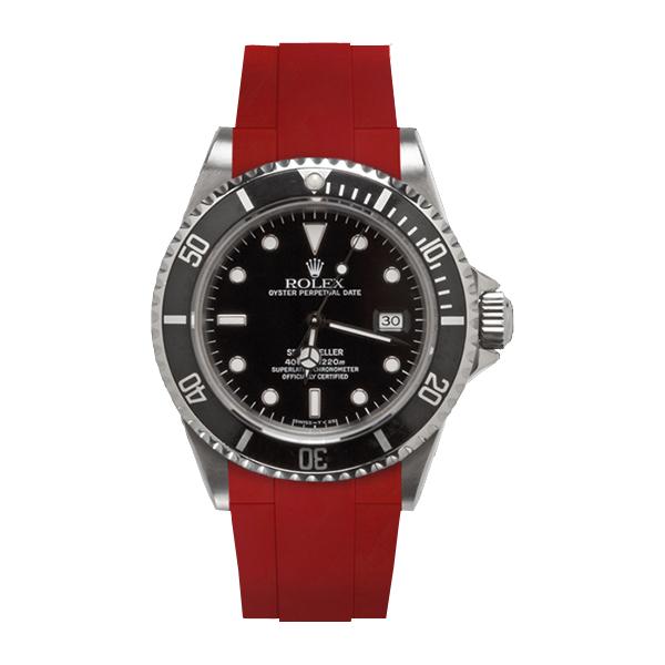 ラバーB【RUBBERB】ROLEXシードゥエラー専用ラバーベルト 色:レッド【ROLEX純正バックルを使用】※時計、バックルは付属しません