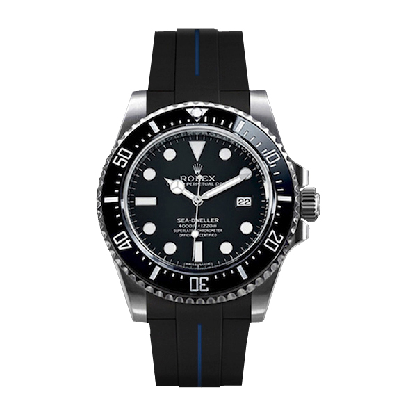 ラバーB【RUBBERB】ROLEXシードゥエラー4000専用ラバーベルト 色:ブラック×ブルー【尾錠付き】※時計は付属しません