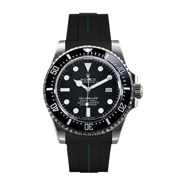 ラバーB【RUBBERB】ROLEXシードゥエラー4000専用ラバーベルト 色:ブラック×グリーン【尾錠付き】※時計は付属しません