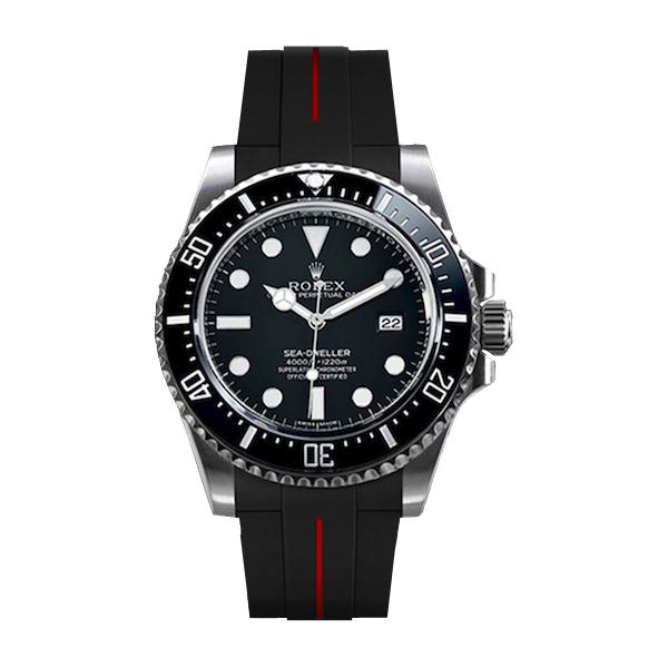ラバーB【RUBBERB】ROLEXシードゥエラー4000専用ラバーベルト 色:ブラック×レッド【尾錠付き】※時計は付属しません