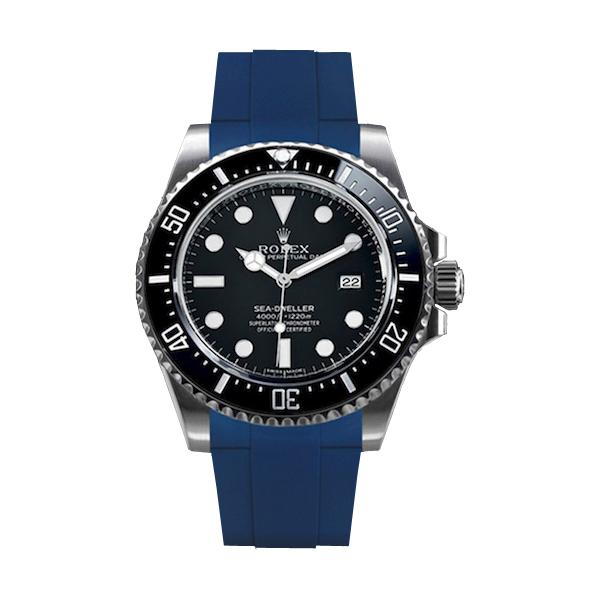 ラバーB【RUBBERB】ROLEXシードゥエラー4000専用ラバーベルト 色:ブルー【尾錠付き】※時計は付属しません