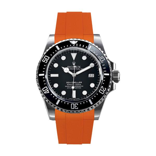 ラバーB【RUBBERB】ROLEX シードゥエラー4000専用ラバーベルト 色:オレンジ【尾錠付き】※時計は付属しません
