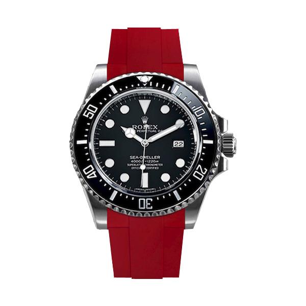 ラバーB【RUBBERB】ROLEXシードゥエラー4000専用ラバーベルト 色:レッド【尾錠付き】※時計は付属しません