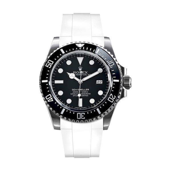 ラバーB【RUBBERB】ROLEXシードゥエラー4000専用ラバーベルト 色:ホワイト【尾錠付き】※時計は付属しません