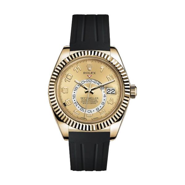 ラバーB【RUBBERB】ROLEXスカイドゥエラー専用ラバーベルト 色:ブラック×グレー【ROLEX純正バックルを使用】※時計、バックルは付属しません