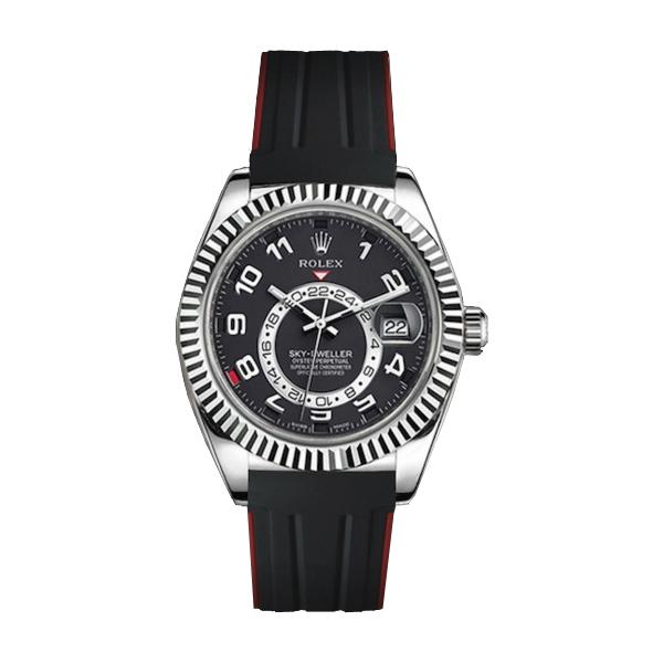 ラバーB【RUBBERB】ROLEXスカイドゥエラー専用ラバーベルト 色:ブラック×レッド【ROLEX純正バックルを使用】※時計、バックルは付属しません