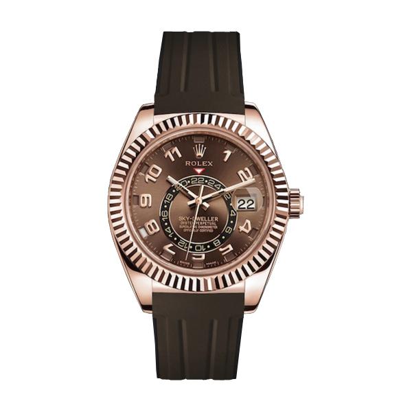 ラバーB【RUBBERB】ROLEXスカイドゥエラー専用ラバーベルト 色:ブラウン×ブラック【ROLEX純正バックルを使用】※時計、バックルは付属しません