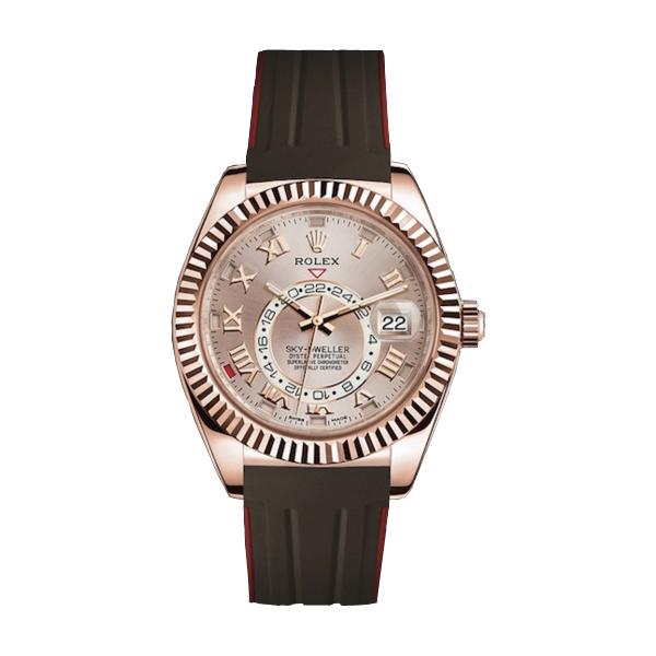 ラバーB【RUBBERB】ROLEXスカイドゥエラー専用ラバーベルト 色:ブラウン×レッド【ROLEX純正バックルを使用】※時計、バックルは付属しません