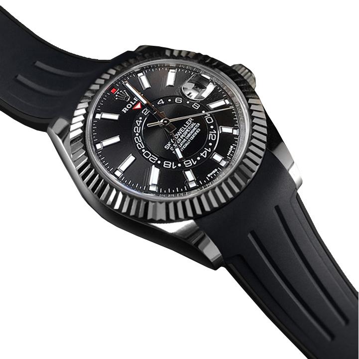 RUBBERB ロレックス スカイドゥエラー オイスターブレス専用ラバーベルト 色:ブラック×ブラック【ROLEXバックルを使用】※時計、バックルは付属しません