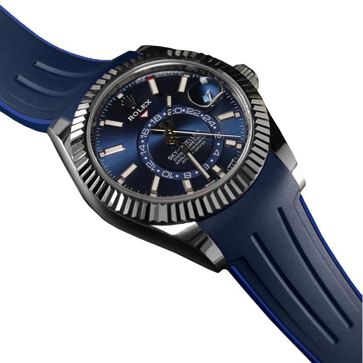 RUBBERB ロレックス スカイドゥエラー オイスターブレス専用ラバーベルト 色:ネイビー×ブルー【ROLEXバックルを使用】※時計、バックルは付属しません