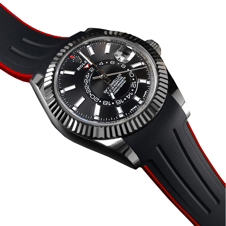 RUBBERB ロレックス スカイドゥエラー オイスターブレス専用ラバーベルト 色:ブラック×レッド【ROLEXバックルを使用】※時計、バックルは付属しません