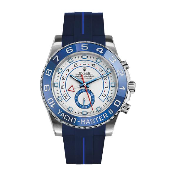 ラバーB【RUBBERB】ROLEXヨットマスターII(44mm)専用ラバーベルト 色:ブルー×ブルー【ROLEX純正バックルを使用】※時計、バックルは付属しません