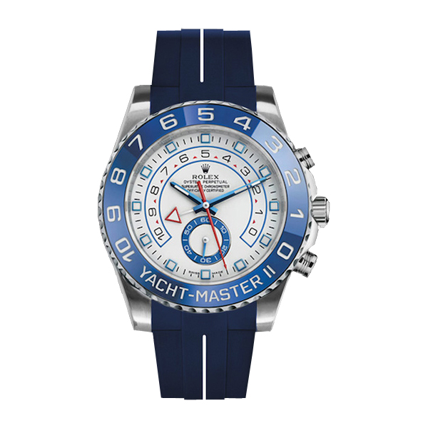 ラバーB【RUBBERB】ROLEXヨットマスターII(44mm)専用ラバーベルト 色:ブルー×ホワイト【ROLEX純正バックルを使用】※時計、バックルは付属しません