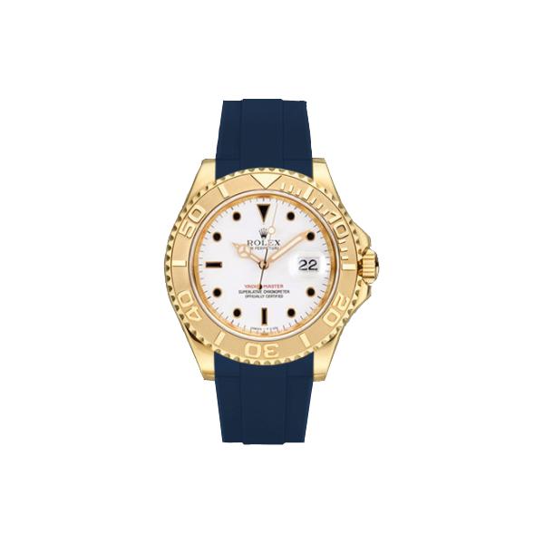 ラバーB【RUBBERB】ROLEXヨットマスター(35mm ボーイズ)専用ラバーベルト 色:ブルー【尾錠付き】※時計は付属しません