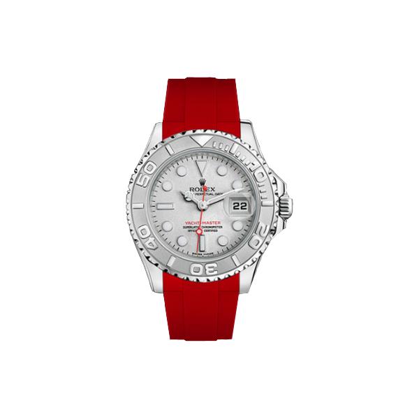ラバーB【RUBBERB】ROLEXヨットマスター(35mm ボーイズ)専用ラバーベルト 色:レッド【尾錠付き】※時計は付属しません