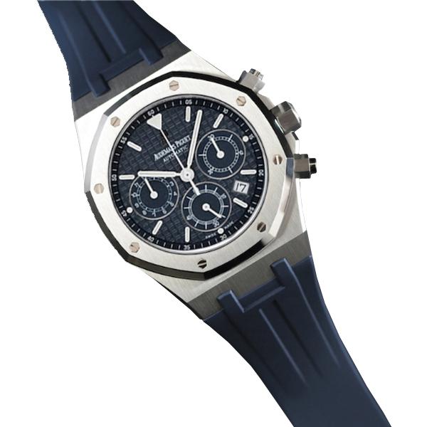 ラバーB【RUBBERB】オーデマピゲ【Audemars Piguet】ロイヤルオーク 39mmモデル専用ラバーベルト【ネイビー】【VELCRO】 ※時計は付属しません。
