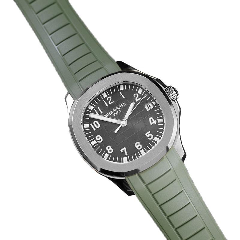 アクアノートをお好みに合わせて遊ぶ ラバーB RUBBERB パテックフィリップ オープニング 大放出セール アクアノート バックルは付属しません 新品未使用正規品 グリーン 5167専用ラバーベルト ※時計
