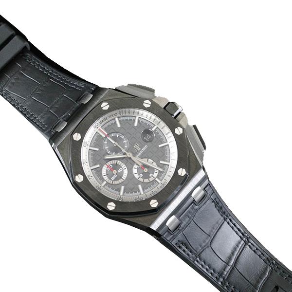ラバーB【RUBBERB】オーデマピゲ ロイヤルオークオフショア 44mmモデル専用ラバーベルト アリゲーター調【ブラック】 ※時計、バックルは付属しません。