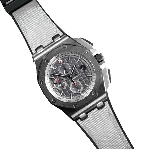 ラバーB【RUBBERB】オーデマピゲ ロイヤルオークオフショア 44mmモデル専用ラバーベルト セイルクロス調【ホワイト】 ※時計、バックルは付属しません。