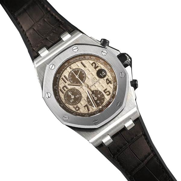 ラバーB【RUBBERB】オーデマピゲ ロイヤルオークオフショア 42mmモデル専用ラバーベルト アリゲーター調【ブラウン】 ※時計、バックルは付属しません。
