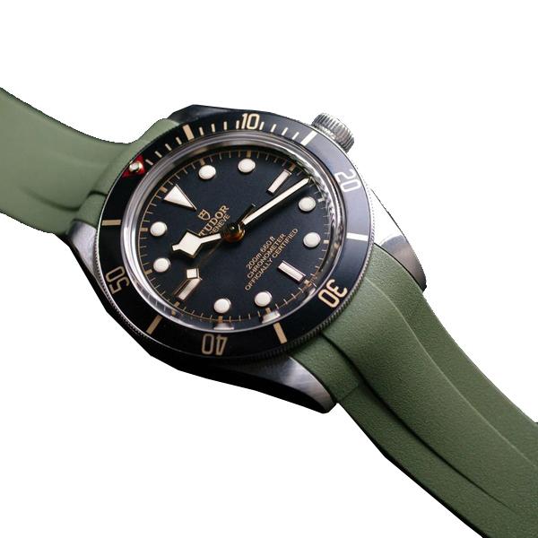 ラバーB【RUBBERB】チューダー【TUDOR】ブラックベイ58(フィフティエイト)39mm専用ラバーベルト【グリーン】 ※時計は付属しておりません。