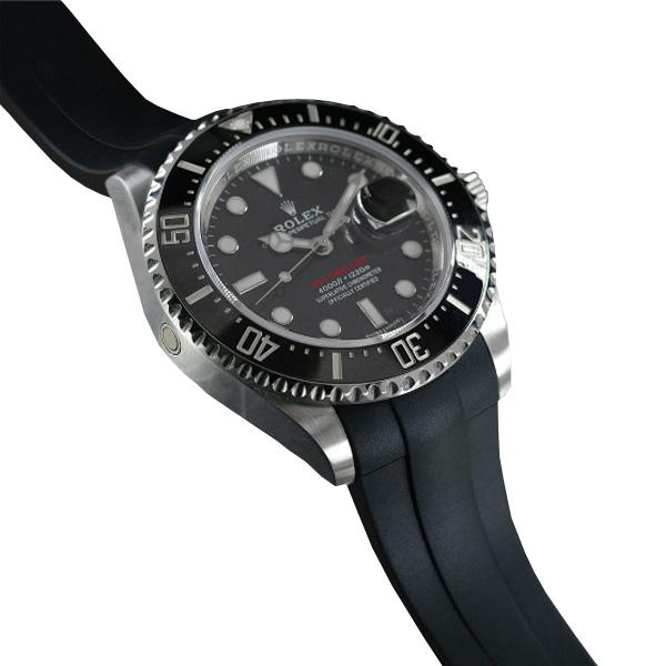 ラバーB【RUBBERB】ROLEX シードゥエラー43mm(Ref.126600)専用ラバーベルト 色:ブラック【ROLEX純正バックルを使用】※時計、バックルは付属しません