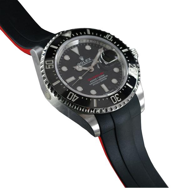 腕元をカジュアルに魅せるシードゥエラー43mm専用ラバーベルト ラバーB RUBBERB 信憑 ROLEX シードゥエラー43mm Ref.126600 送料無料お手入れ要らず 色:ブラック×レッド ※時計 専用ラバーベルト ROLEX純正バックルを使用 バックルは付属しません