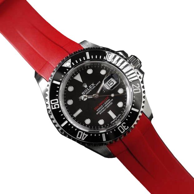 RUBBERB ロレックス シードゥエラー43mm(Ref.126600など)専用ラバーベルト 色:レッド【尾錠付き】※時計は付属しません